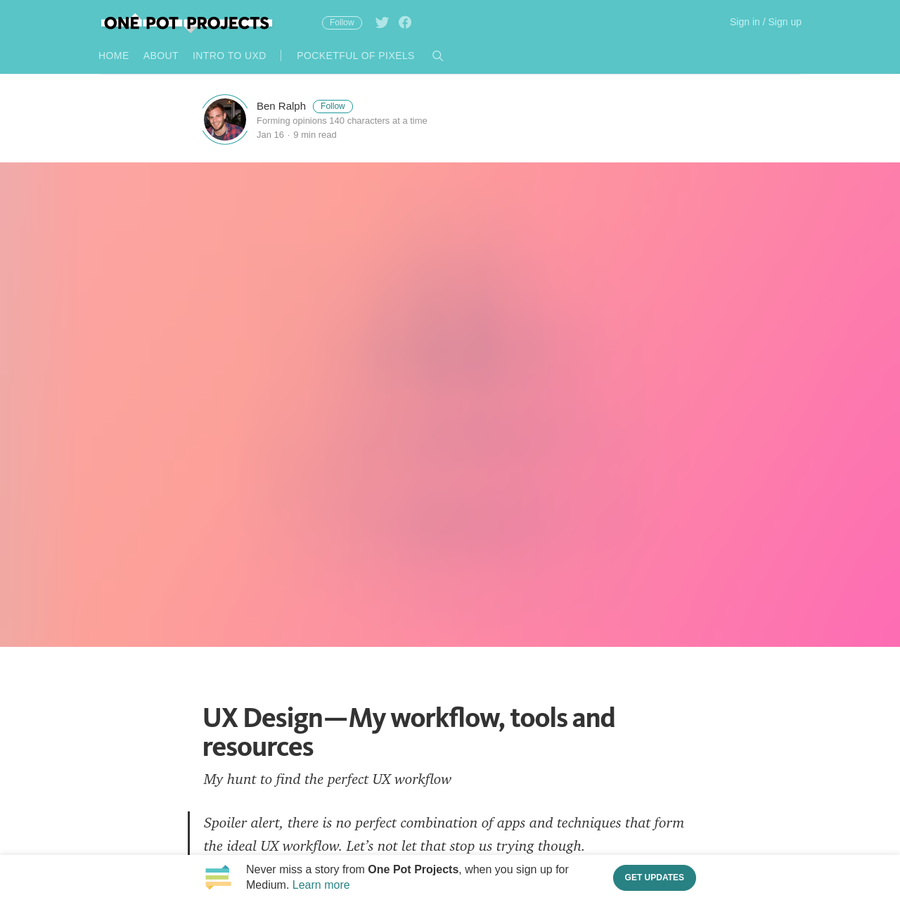 Spoiler alert, there is no perfect combination of apps and techniques that form the ideal UX workflow. Let's not let that stop us trying though. In this post, I intend to list all the tools, resources and articles that I rely on as a UX Designer and UX Instructor.