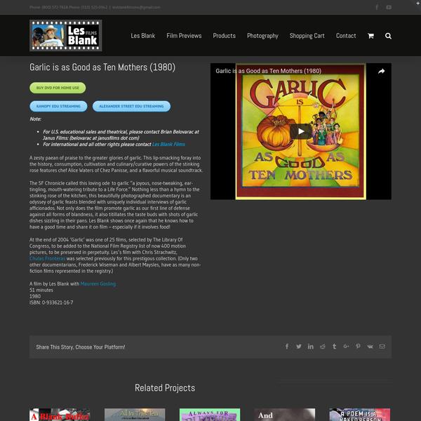 Garlic is as Good as Ten Mothers (1980) Buy DVD For Home Use Kanopy Edu Streaming Alexander Street Edu Streaming Note: For U.S.