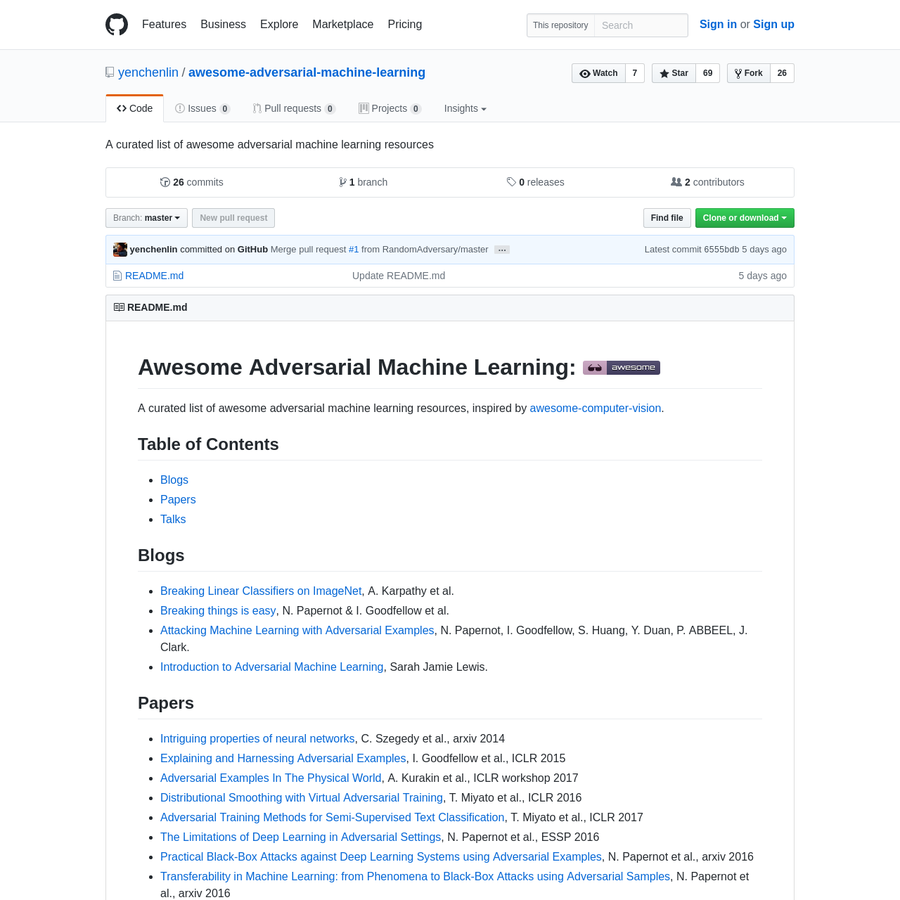 awesome-adversarial-machine-learning - A curated list of awesome adversarial machine learning resources