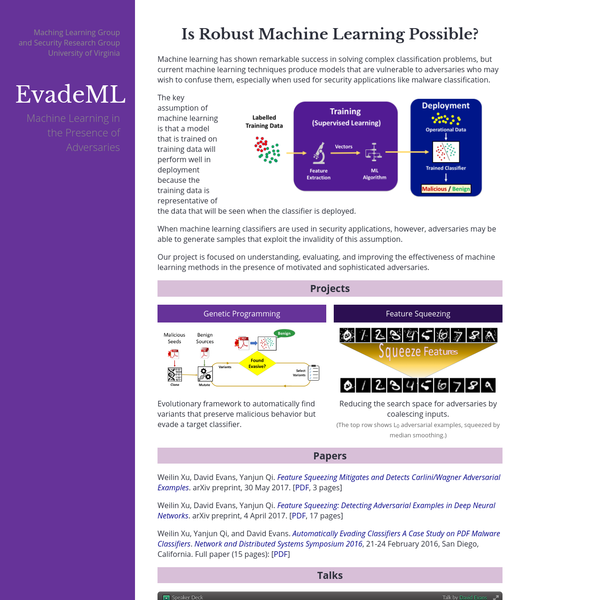 Machine learning has shown remarkable success in solving complex classification problems, but current machine learning techniques produce models that are vulnerable to adversaries who may wish to confuse them, especially when used for security applications like malware classification.