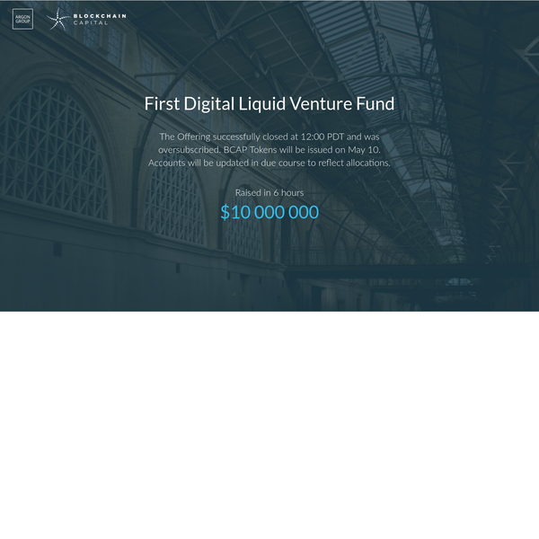 The First Digital Liquid Venture Fund: Blockchain Capital Fund