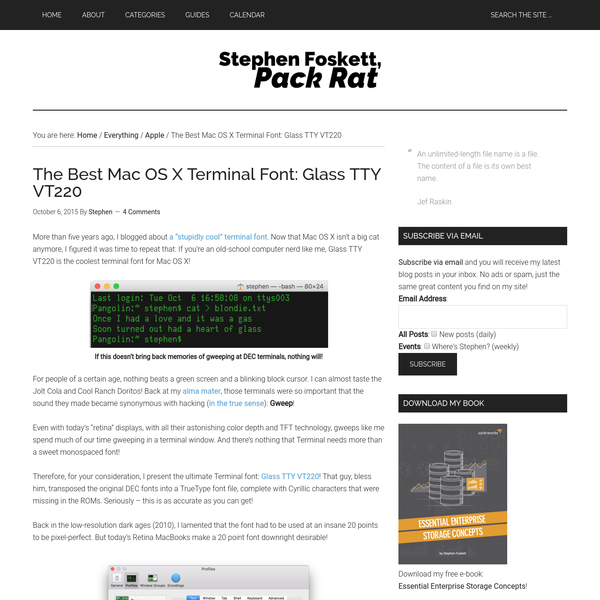 Are na / The Best Mac OS X Terminal Font: Glass TTY VT220 - Stephen