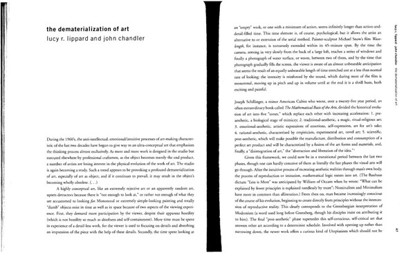 The Dematerialization of Art, Lucy Lippard and John Chandler (1968)