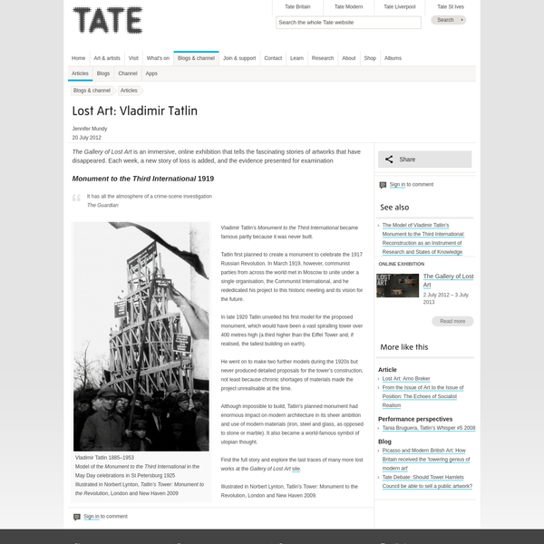 Lost Art: Vladimir Tatlin | Tate