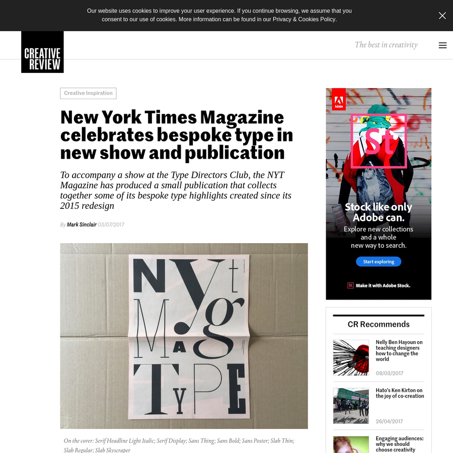 The booklet, NYT Mag Type, has been produced through Newspaper Club and features examples of the magazine's sans and serif faces, alongside a wide selection of more expressive type designs created for specific issues.