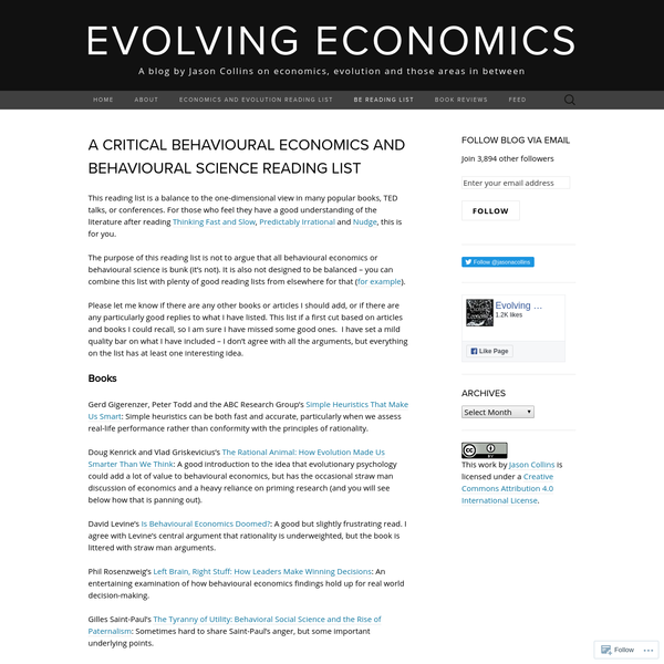 A critical behavioural economics and behavioural science reading list