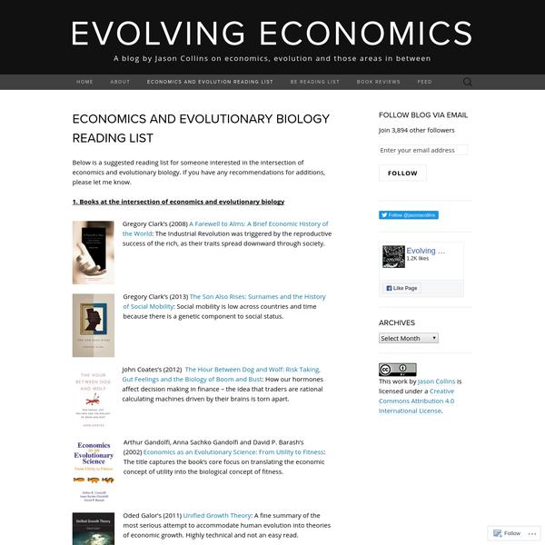 Economics and evolutionary biology reading list