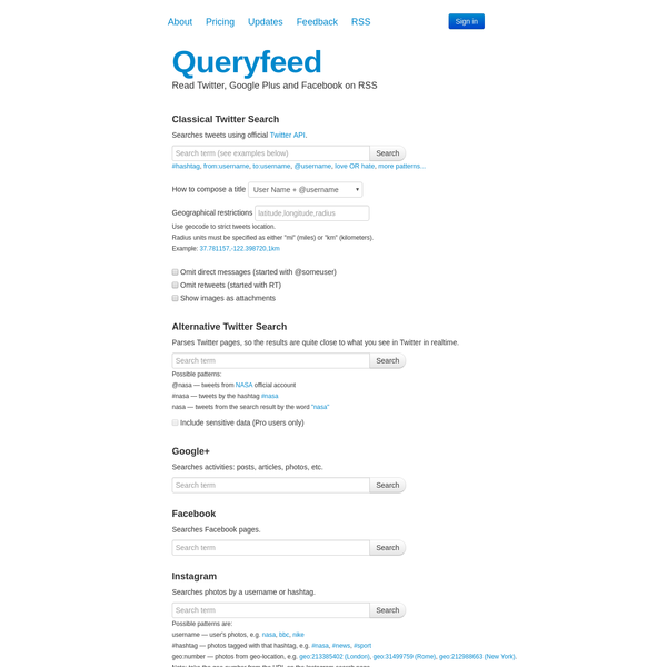 Queryfeed | Read Twitter, Google Plus and Facebook on RSS
