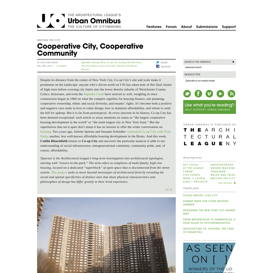 Despite its distance from the center of New York City, Co-op City's site and scale make it prominent on the landscape: anyone who's driven north on I-95 has taken note of this final cluster of high-rises before crossing city limits into the lower density suburbs of Westchester County.