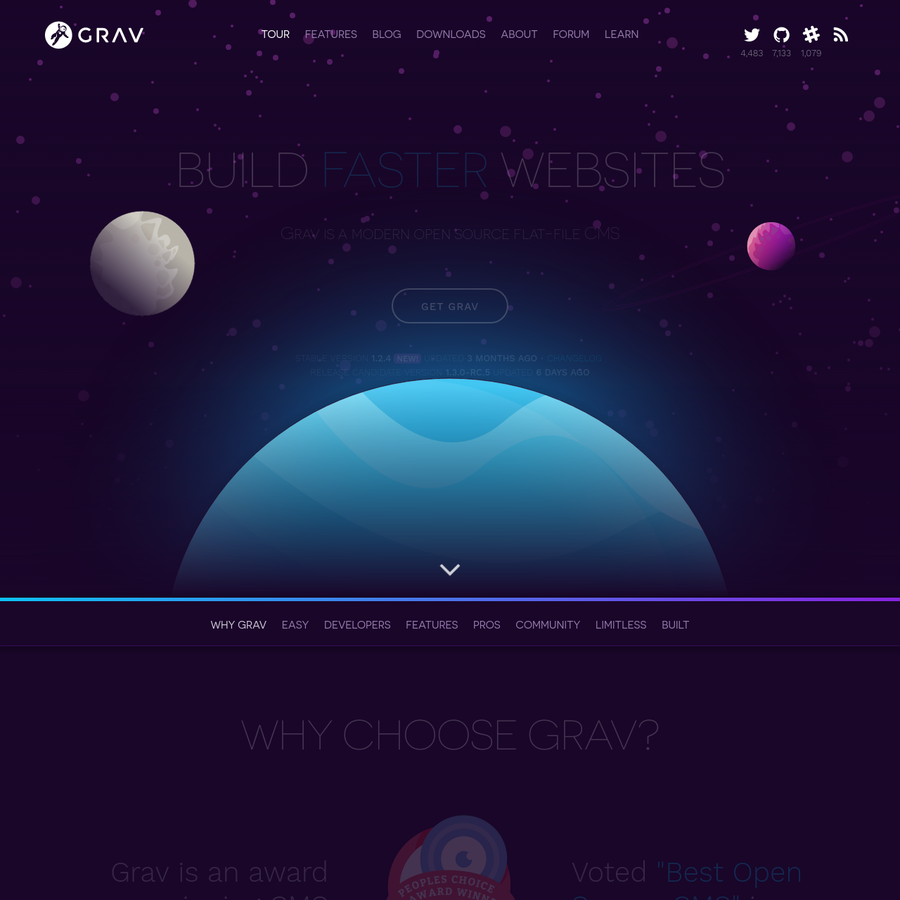 Grav is an easy to use, yet powerful, opensource CMS that requires no database