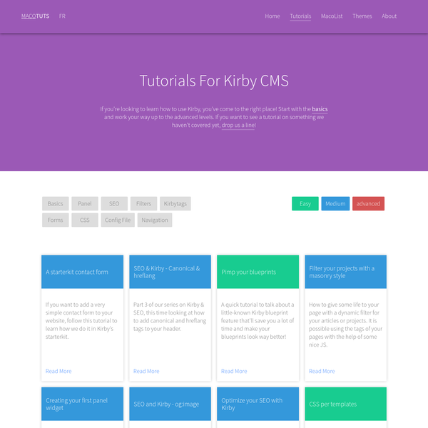 Discover the Kirby CMS with new updated tutorials every weeks. We add Tutos for everybody and all type of site using Kirby as framework.