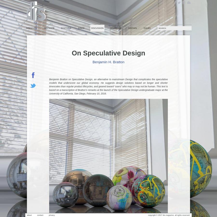 On Speculative Design | Benjamin H. Bratton