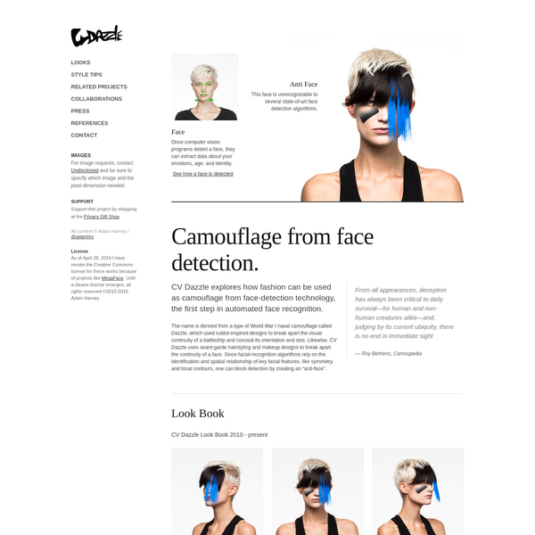 CV Dazzle: Camouflage from Face Detection by Adam Harvey