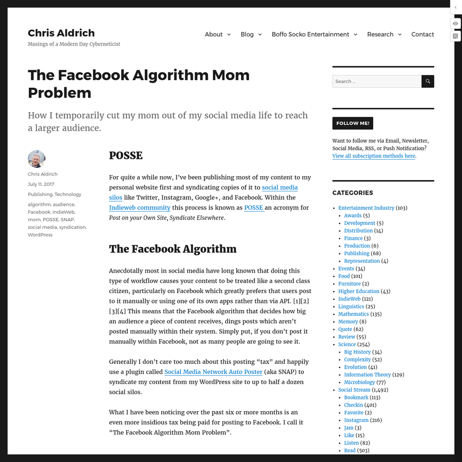 How I temporarily cut my mom out of my social media life to reach a larger audience. For quite a while now, I've been publishing most of my content to my personal website first and syndicating copies of it to social media silos like Twitter, Instagram, Google+, and Facebook.