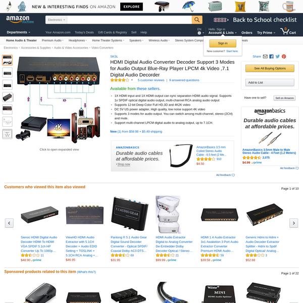 HDMI Digital Audio Converter Decoder Support 3 Modes for Audio Output Blue-Ray Player LPCM 4k Video ,7.1 Digital Audio Decorder