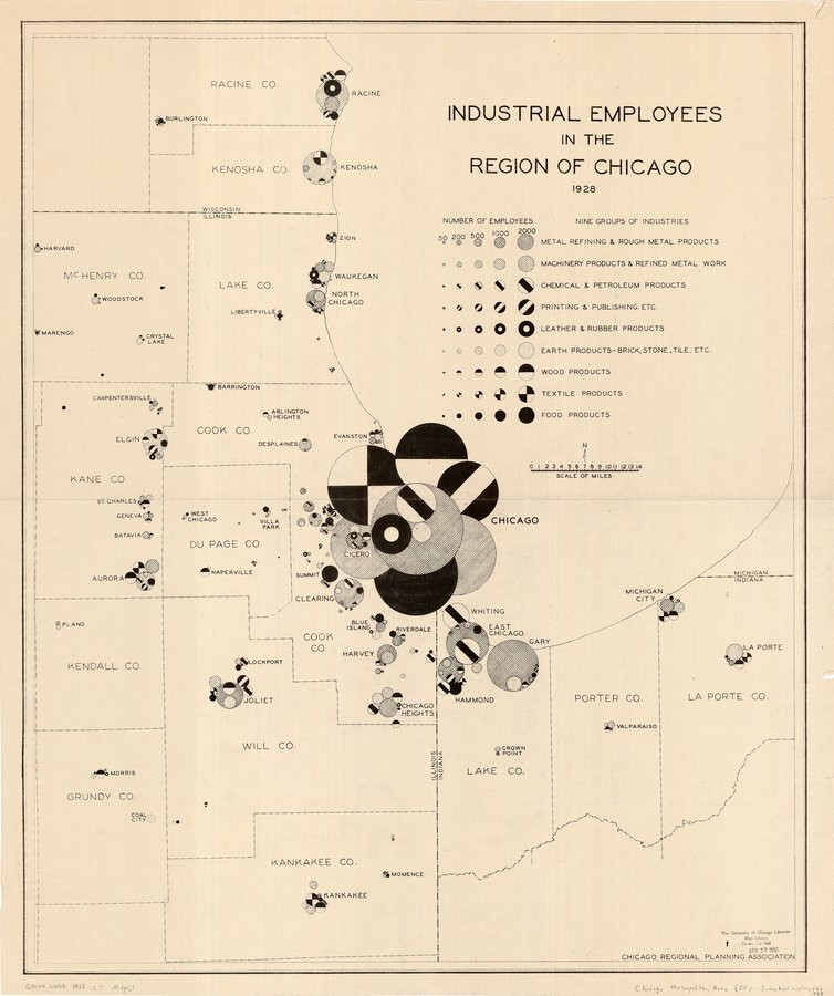 Map of Industrial Employees in Chicago 1928