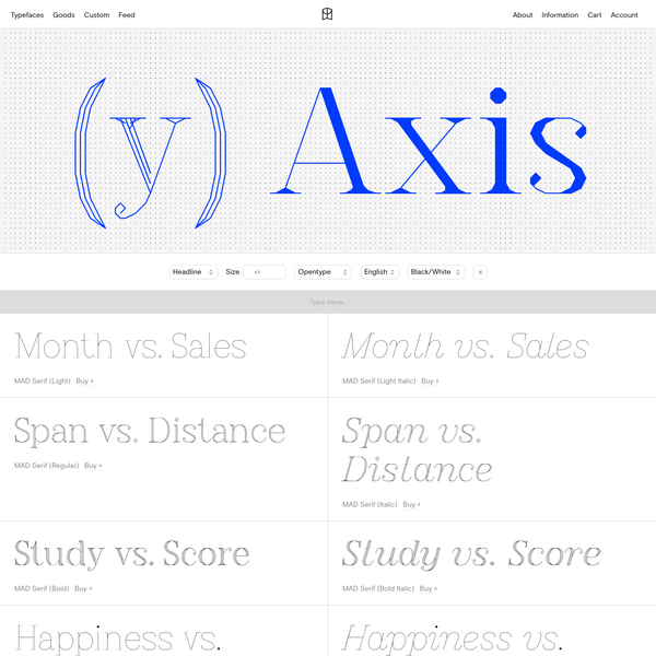 MAD Serif is the more elegant side to the MAD family, with a similar harshness to MAD Sans but with a shape that is more graceful and features that become sharper and delicate at points. It has an air of sophistication at certain sizes that give way to crudeness at larger sizes.