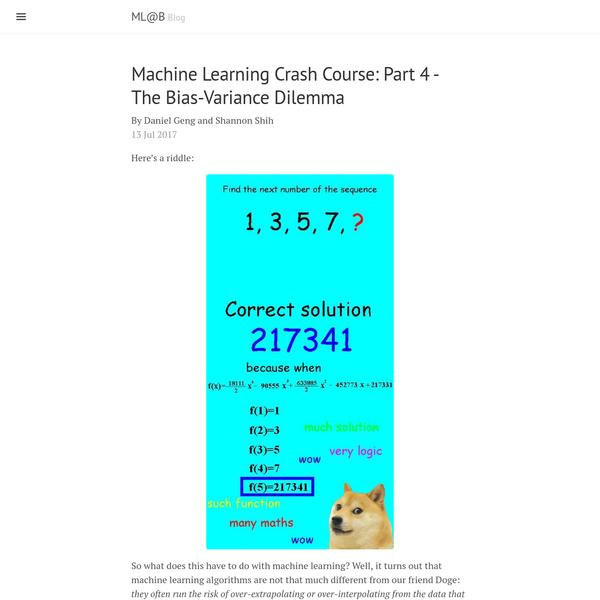 Machine Learning Crash Course: Part 4 - The Bias-Variance Dilemma · ML@B
