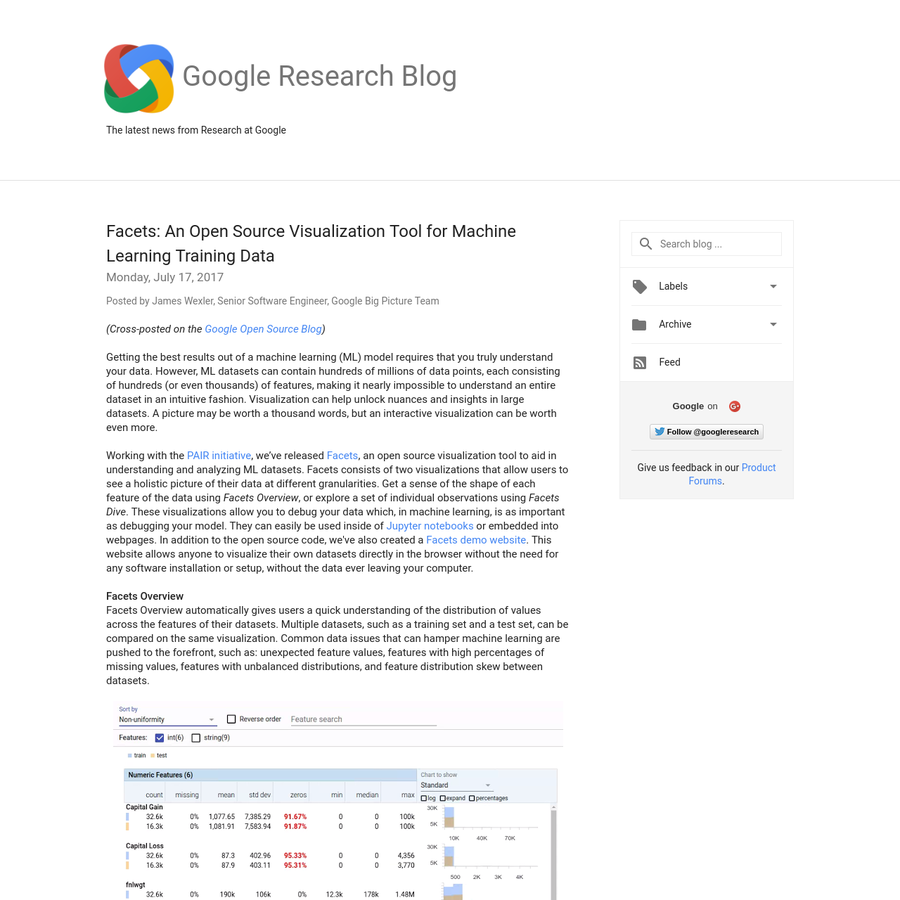 (Cross-posted on the Google Open Source Blog) Getting the best results out of a machine learning (ML) model requires that you truly understand your data. However, ML datasets can contain hundreds of millions of data points, each consisting of hundreds (or even thousands) of features, making it nearly impossible to understand an entire dataset in an intuitive fashion.