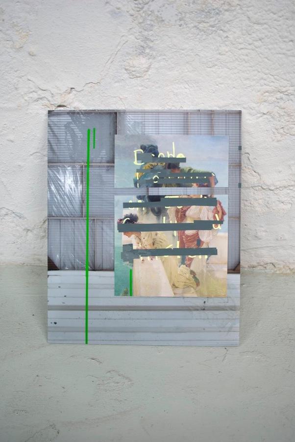 Acrylic paint, vinyl, found image, digital photograph on plastic-core. 2016