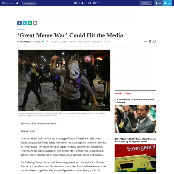 "Ever hear of the ""Great Meme War?"" You will soon. Users on 4chan's /pol/-which had a strong pro-Donald Trump base-effectively helped campaign for Trump during the election season, using what some users describe as ""meme magic"" to concoct narratives before spreading them on other social media websites."
