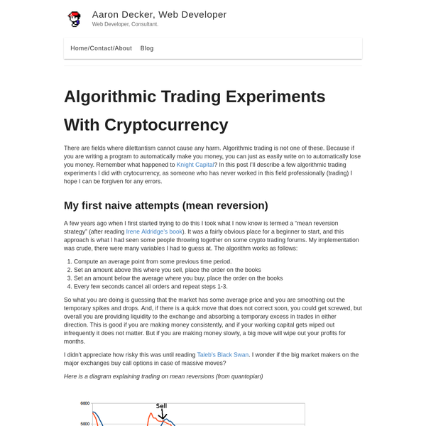 There are fields where dilettantism cannot cause any harm. Algorithmic trading is not one of these. Because if you are writing a program to automatically make you money, you can just as easily write on to automatically lose you money. Remember what happened to Knight Capital?