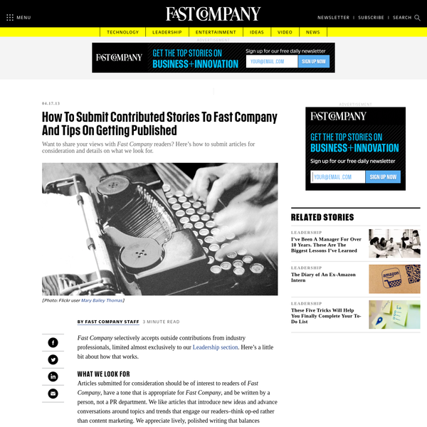 How To Submit Contributed Stories To Fast Company And Tips On Getting Published