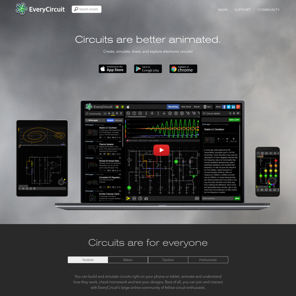 EveryCircuit is an easy to use, highly interactive circuit simulator and schematic capture tool. Real-time circuit simulation, interactivity, and dynamic visualization make it a must have application for professionals and academia. EveryCircuit user community has collaboratively created the largest searchable library of circuit designs.
