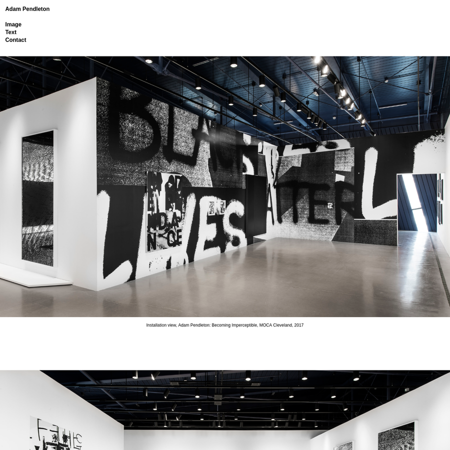 Installation view, Adam Pendleton: Becoming Imperceptible, MOCA Cleveland, 2017