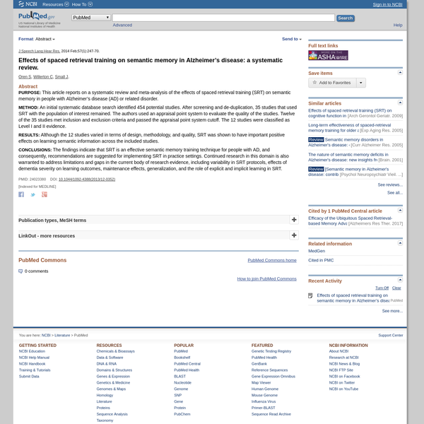 Effects of spaced retrieval training on semantic memory in Alzheimer's disease: a systematic review. - PubMed - NCBI