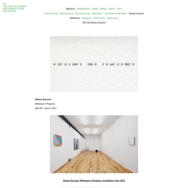 JTT / ARTISTS / Damon Zucconi / Exhibitions / 2013.05 Damon Zucconi