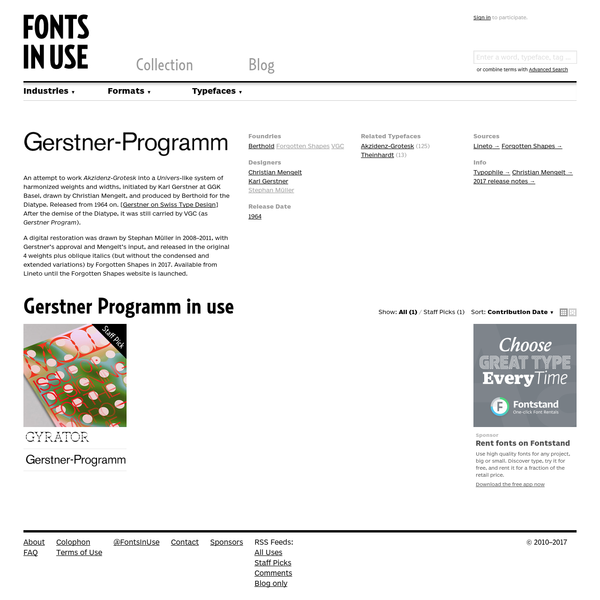 Gerstner Programm in use - Fonts In Use