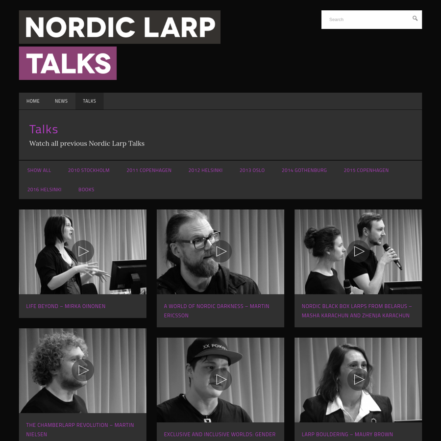 Watch all previous Nordic Larp Talks