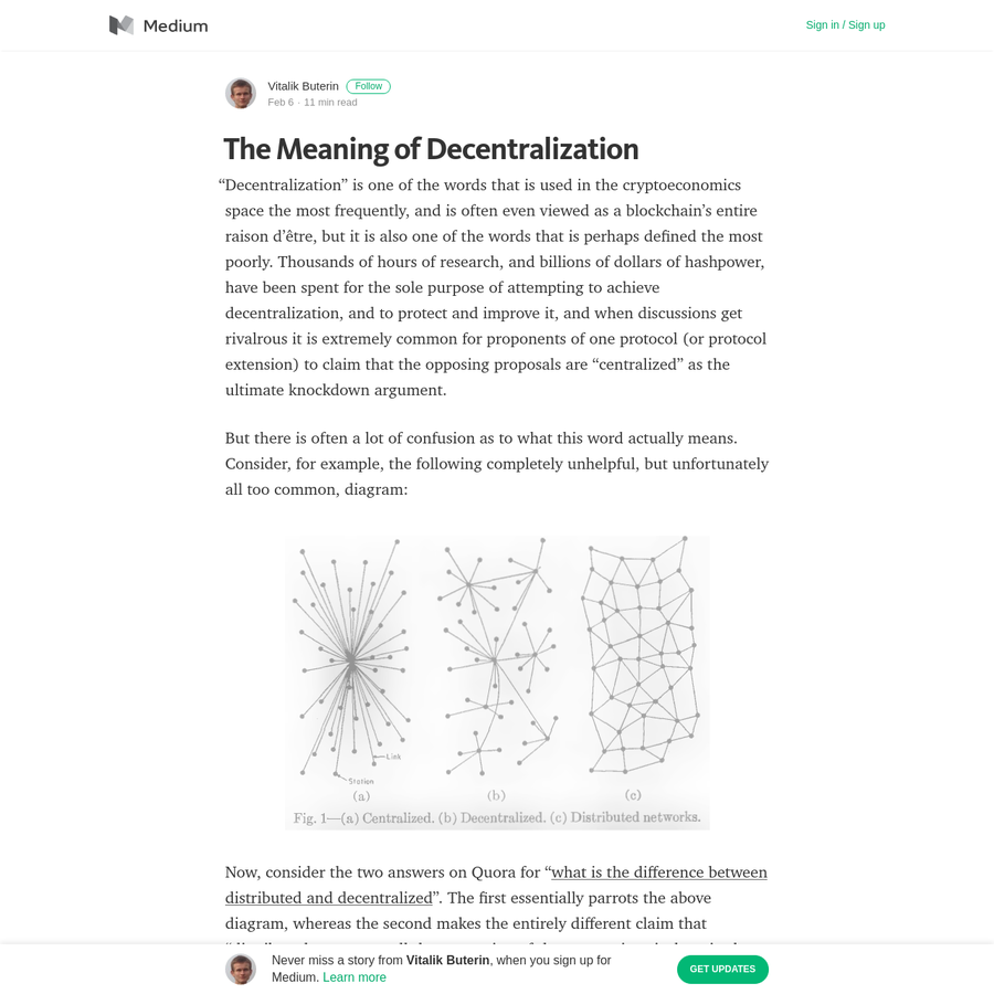 """""""Decentralization"""" is one of the words that is used in the cryptoeconomics space the most frequently, and is often even viewed as a blockchain's entire raison d'être, but it is also one of the words that is perhaps defined the most poorly."""