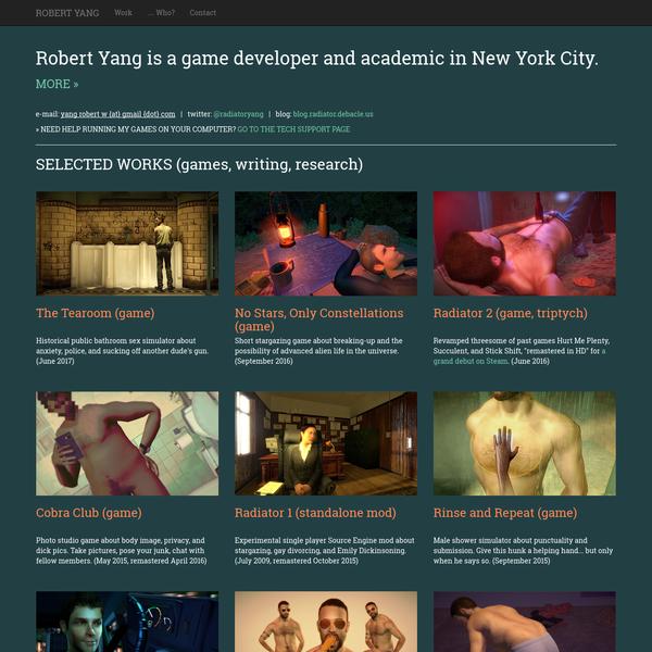 Robert Yang: indie game developer, academic, and writer, based in NYC.