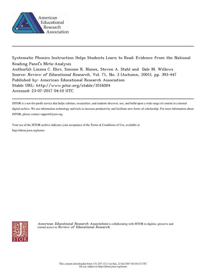 Are Systematics Phonics Instruction