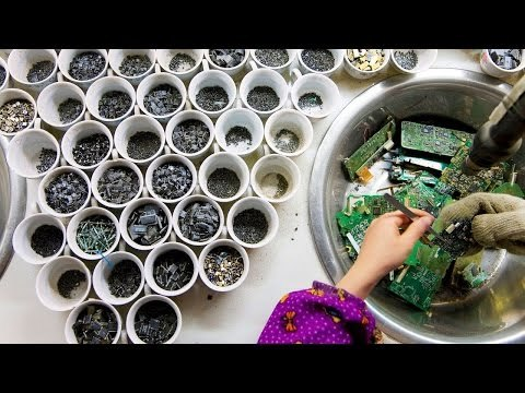 The secret to China's booming electronic-waste recycling business: clever (and highly profitable) reuse. Reuse electronics part the old circuit e-waste Electronic scrap. ic, capacitor, condenser, resistor. Reuse Electronic Devices. reuse old electronic components, ways to reuse old electronics. Archimedes Channel Update video clip. Gold Recycle Finding gold Electronic Waste hidden.