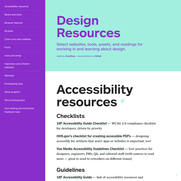 Select websites, tools, assets, and readings for working in and learning about design.