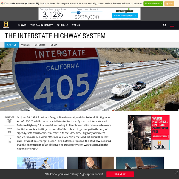 Find out more about the history of The Interstate Highway System, including videos, interesting articles, pictures, historical features and more. Get all the facts on HISTORY.com