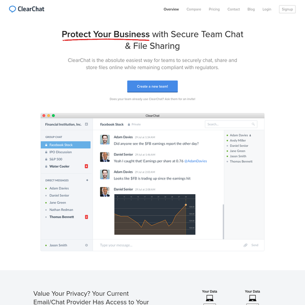 ClearChat is encrypted chat, file sharing and file storage for teams of all sizes who value their privacy and security.