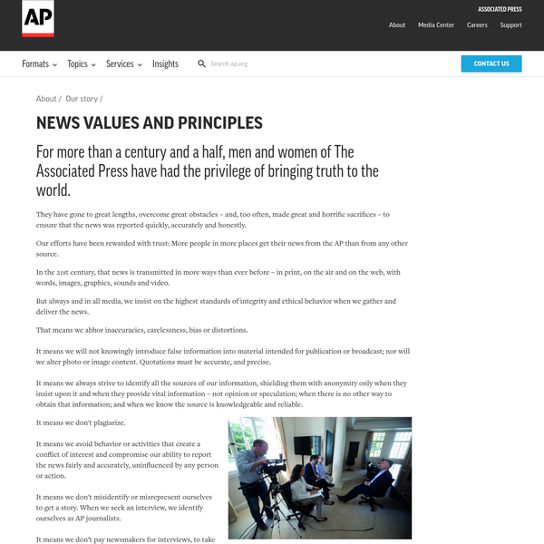 They have gone to great lengths, overcome great obstacles - and, too often, made great and horrific sacrifices - to ensure that the news was reported quickly, accurately and honestly. Our efforts have been rewarded with trust: More people in more places get their news from the AP than from any other source.