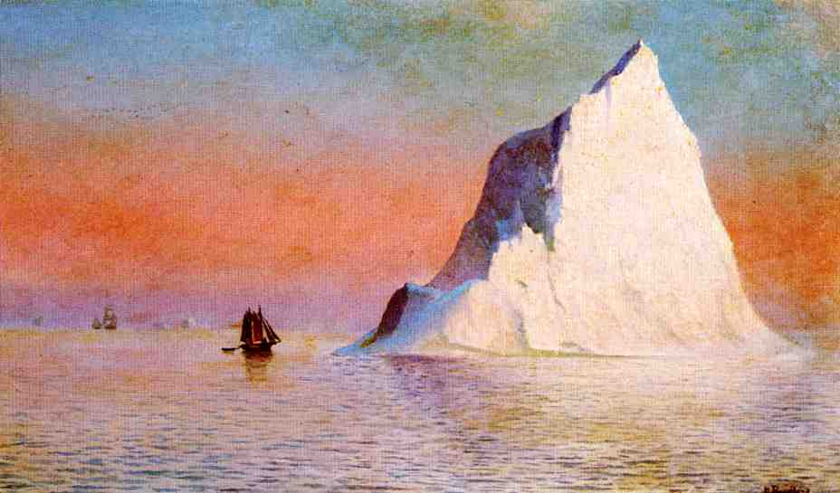 A 19th century oil painting of an iceberg. The sky is a mix of reds, pinks, and blues, which are reflected in the water. A wooden ship sails close to the iceberg and looks diminutive in comparison.