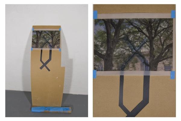 2012 Digital print on vellum, vinyl, found wood.