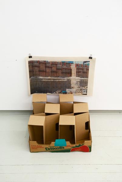 Inkjet on newsprint, acrylic paint, cardboard. 2012