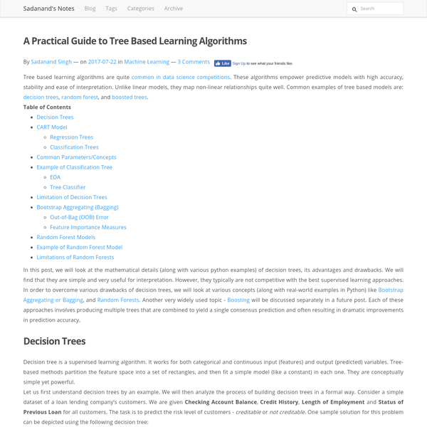 A Practical Guide to Tree Based Learning Algorithms