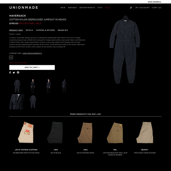 Made in Japan. A classic workwear design given an unexpected, lightweight fabric...
