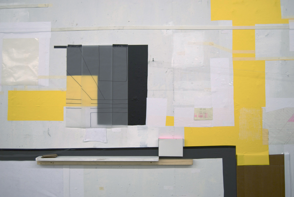2010 Vinyl, acrylic paint, tape, linens, cardboard, drawings on vellum, paper, wood.