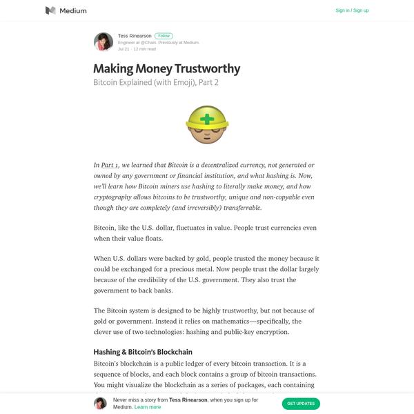 Making Money Trustworthy - Tess Rinearson - Medium
