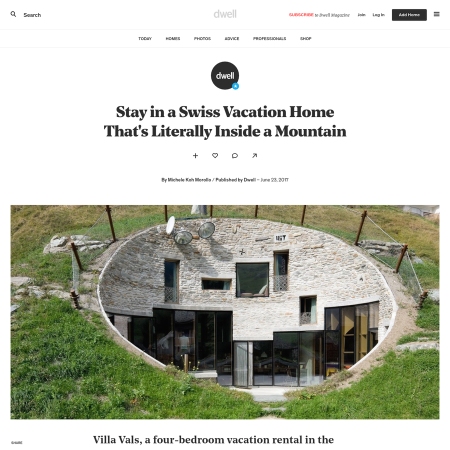 Completed in 2009, this unusual villa that's available for rent through Boutique Homes, is embedded into the hillside, making most of its functional spaces subterranean. A dramatically-recessed shape gives the villa the quality of a modern art installation, while the organic shape of its central terrace-the only part of the house that can be seen from the outside-seems to meld with the natural landscape.