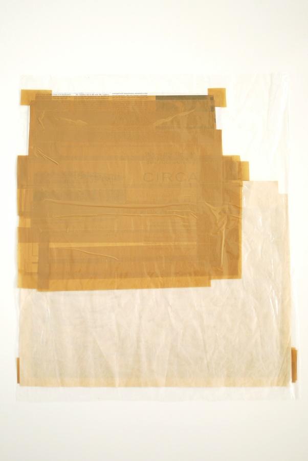 Digital print on newsprint and vellum, found ephemera, tape, plastic. 2016